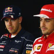 Sebastian Vettel y Fernando Alonso en una rueda de prensa de Montmeló - LaF1
