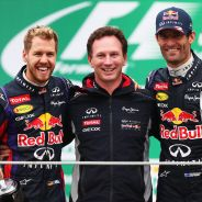 Sebastian Vettel y Mark Webber en el podio de Brasil - LaF1