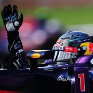 Sebastian Vettel celebra su victoria en el Gran Premio de Canadá