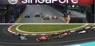 Salida del GP de Singapur 2017 (arriba) y salida del GP de Malasia 2016 - SoyMotor.com