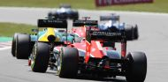 Acción en pista durante el GP de Alemania