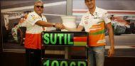 Adrian Sutil en la celebración de su 100º Gran Premio