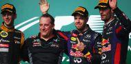 Podio del GP de Estados Unidos 2013 con Grosjean, Vettel y Webber - LaF1