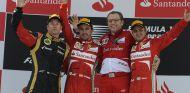 Podio con Räikkönen, Alonso, Domenicali y Massa - LaF1