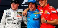 Kimi Räikkönen, Fernando Alonso y Michael Schumacher en Baréin - SoyMotor.com