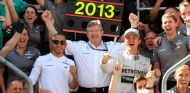 Ross Brawn celebra la victoria en Silverstone