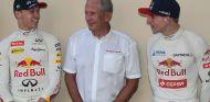Helmut Marko, en el centro de la conversación entre Daniil Kvyat (Red Bull) y Max Verstappen (Toro Rosso), en 2015 – SoyMotor.com