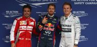 Vettel posa junto a Alonso y Rosberg tras marcar la Pole en Brasil - LaF1