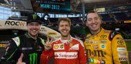 Sebastian Vettel, Kyle Busch y Kurt Busch en Miami - SoyMotor.com