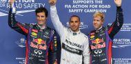 Mark Webber, Lewis Hamilton y Sebastian Vettel en Spa - LaF1