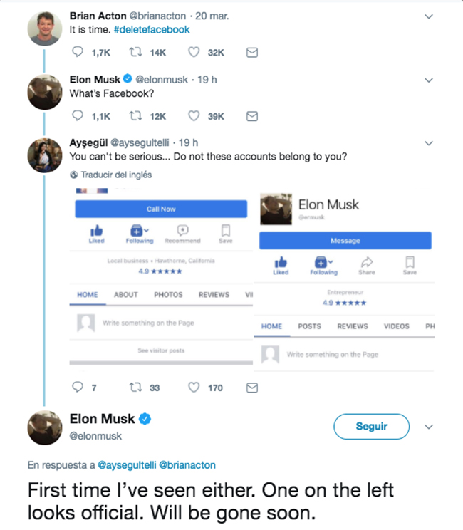 Elon Musk borra los perfiles de Facebook de Tesla y SpaceX