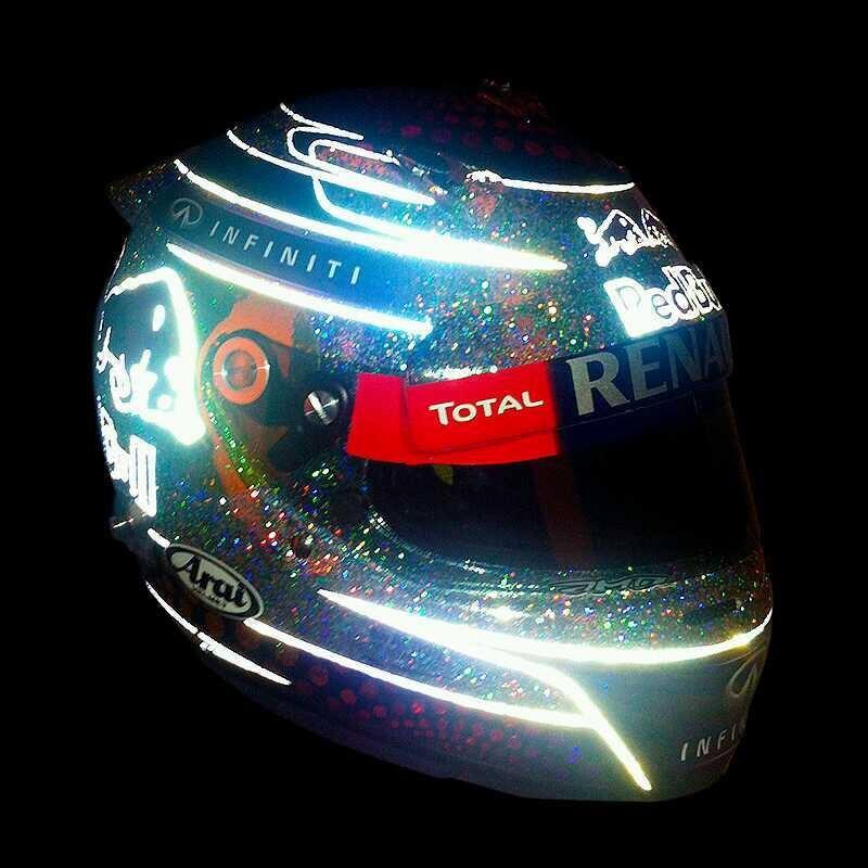 Brillo del casco de Sebastian Vettel para Marina Bay
