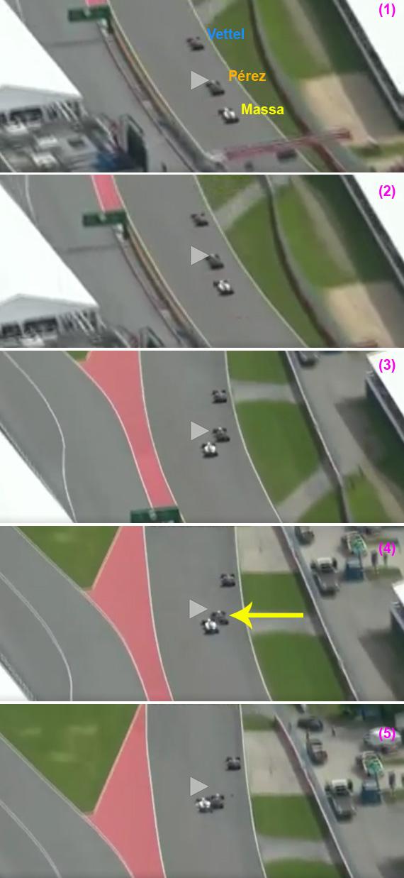 Secuencia del accidente entre Massa y Pérez