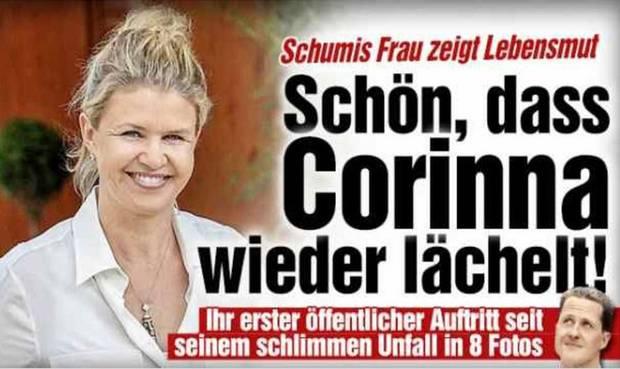 Corinna Schumacher sonríe en su primera aparición pública tras el accidente