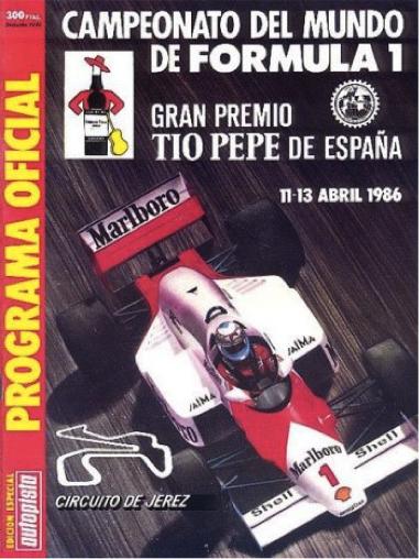 Programa del GP de España de F1 1986 en Jerez