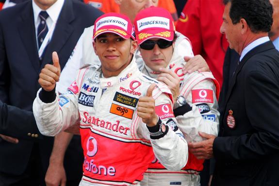 Hamilton y Alonso en el GP de Mónaco 2007