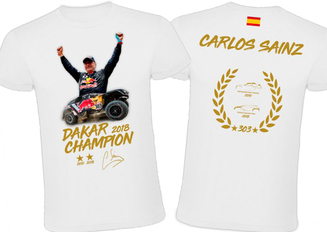 Camiseta Carlos Sainz campeón Dakar 2018 - Shop.soymotor.com