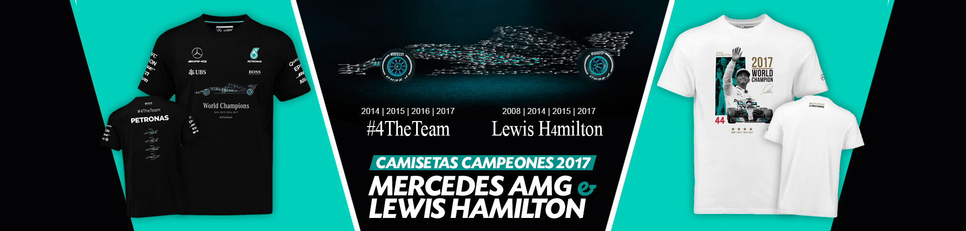 Camiseta oficial Mercedes y Lewis Hamilton